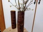 サクラ樹皮の花器